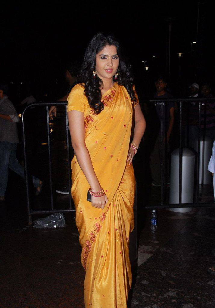 DEEKSHA SETH BEAUTIFUL LOOK IN SAREE AT SANTOSHAM AWARDS hot photos