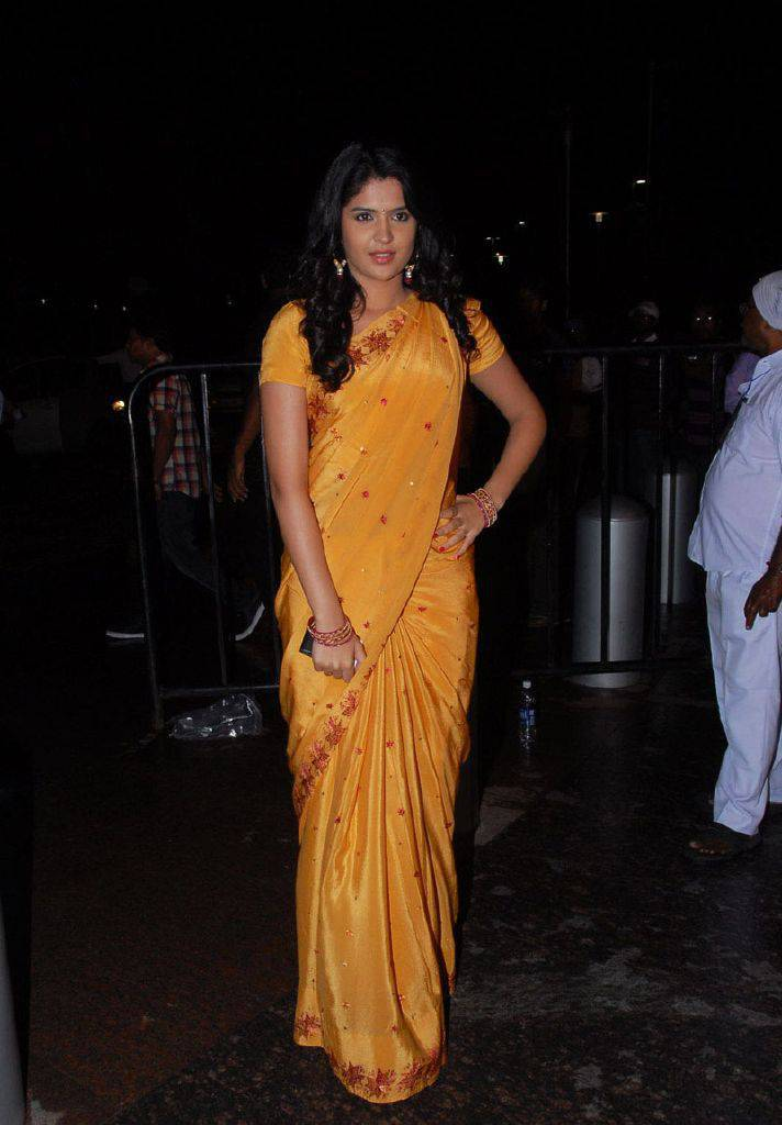 DEEKSHA SETH BEAUTIFUL LOOK IN SAREE AT SANTOSHAM AWARDS glamour images