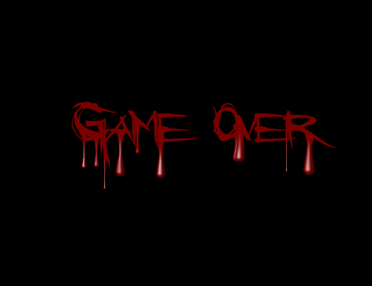 Game over screen horror as in the game over screen