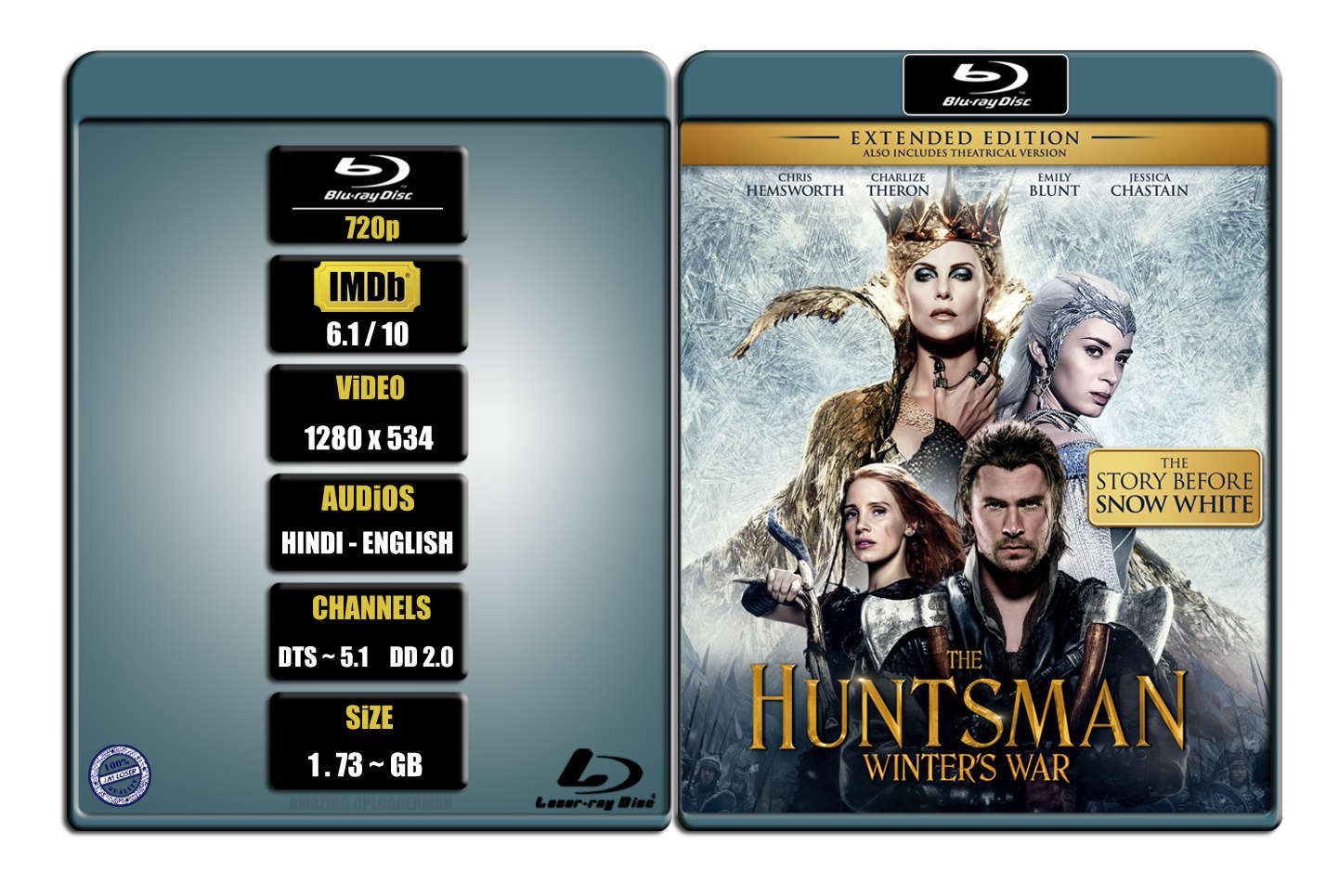 The Huntsman Winters War [2016] [EXTENDED CUT] 720p BR Rip x264 [DTS 5.1 HINDI – DD 2.0 ENG] ® Im Loser ® 1.76 GB