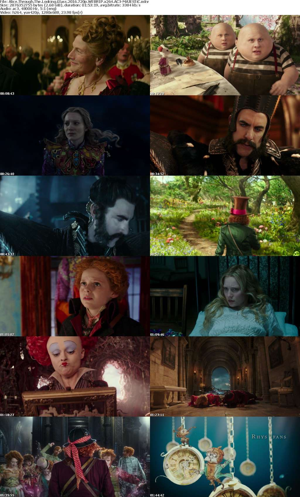Alice Through The Looking Glass 2016 720p WEBRIP x264 AC3-MAJESTiC