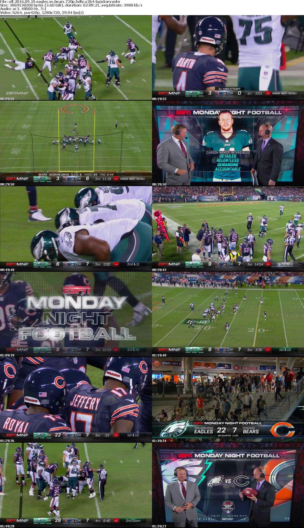 NFL 2016 09 19 Eagles vs Bears 720p HDTV x264-BAJSKORV