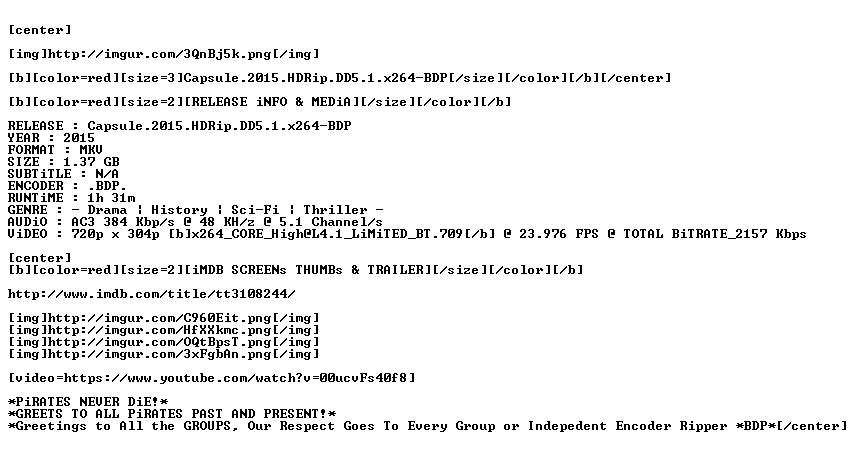 Capsule 2015 HDRip DD5 1 x264-BDP