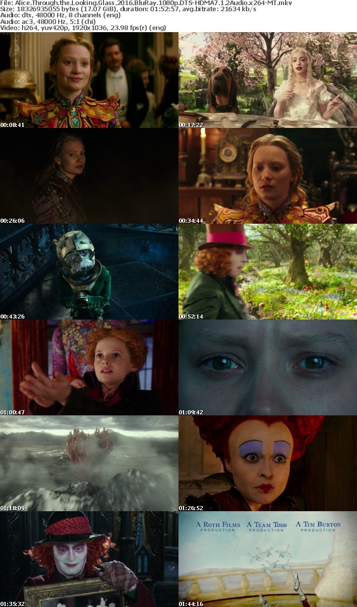 Alice Through the Looking Glass 2016 BluRay 1080p DTS-HDMA7 1 2Audio x264-MT