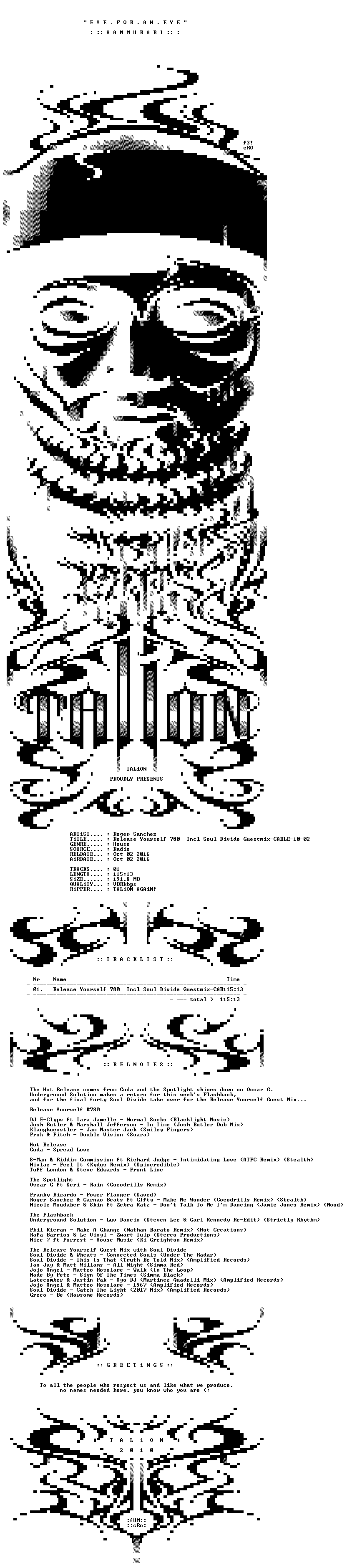 Roger Sanchez - Release Yourself 780 Incl Soul Divide Guestmix-CABLE-10-02-2016-TALiON