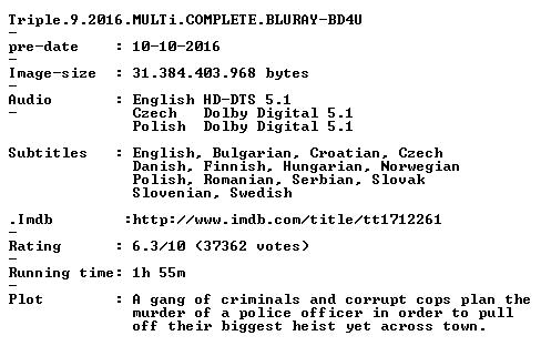 Triple 9 2016 MULTi COMPLETE BLURAY-BD4U