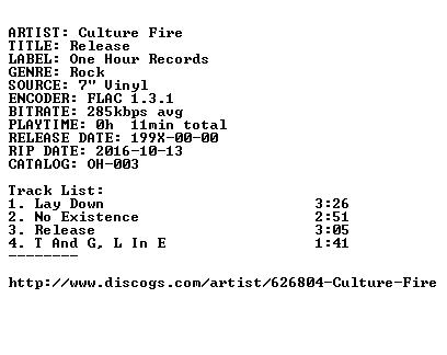 Culture Fire-Release-7INCH VINYL-FLAC-199X-FATHEAD