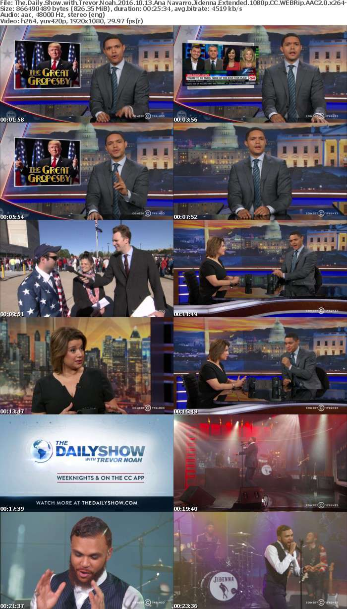 The Daily Show with Trevor Noah 2016 10 13 Ana Navarro Jidenna Extended 1080p CC WEBRip AAC2 0 x264 monkee