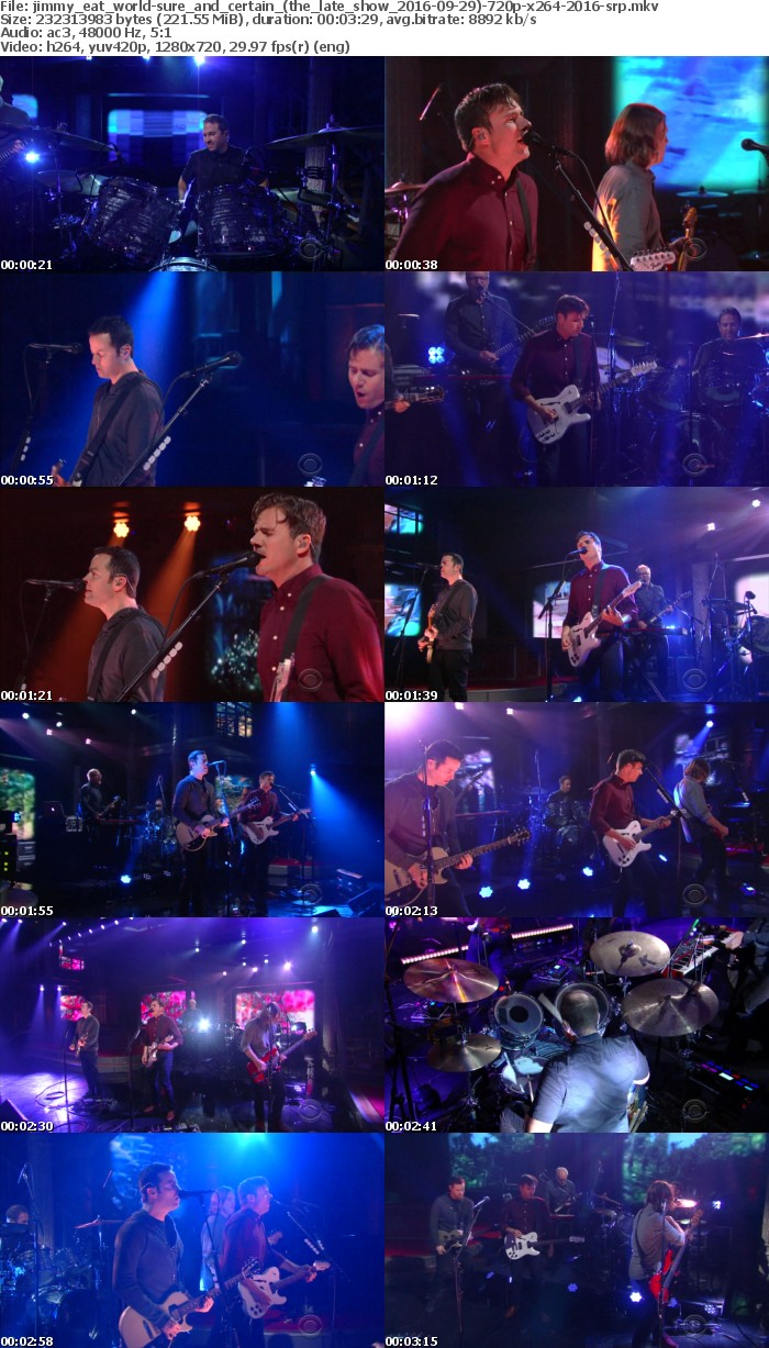 Jimmy Eat World-Sure And Certain (The Late Show 2016-09-29)-720p-x264-2016-SRP