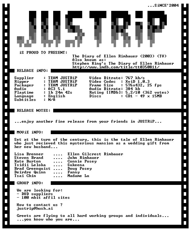 The Diary of Ellen Rimbauer 2003 DVDRiP XviD iNTERNAL-JUSTRiP
