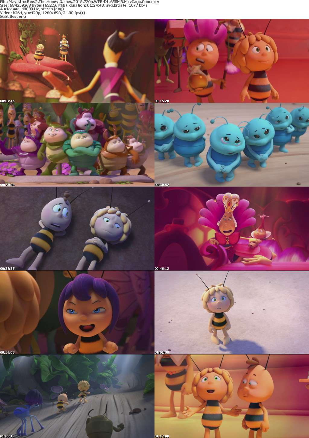 Maya the Bee 2 The Honey Games 2018 720p WEB-DL 650MB MkvCage