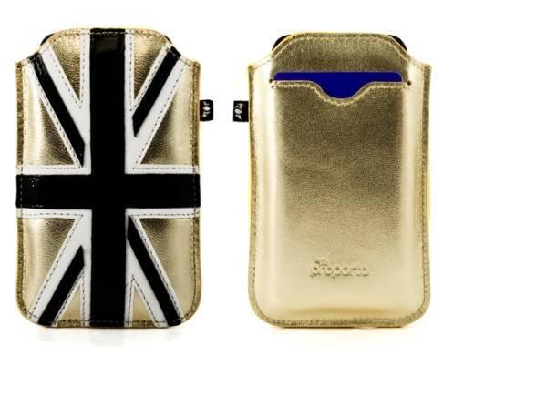 Union Jack gold smartphone pouch