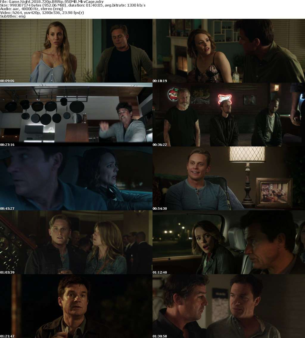 Game Night (2018) 720p BRRip 950MB MkvCage