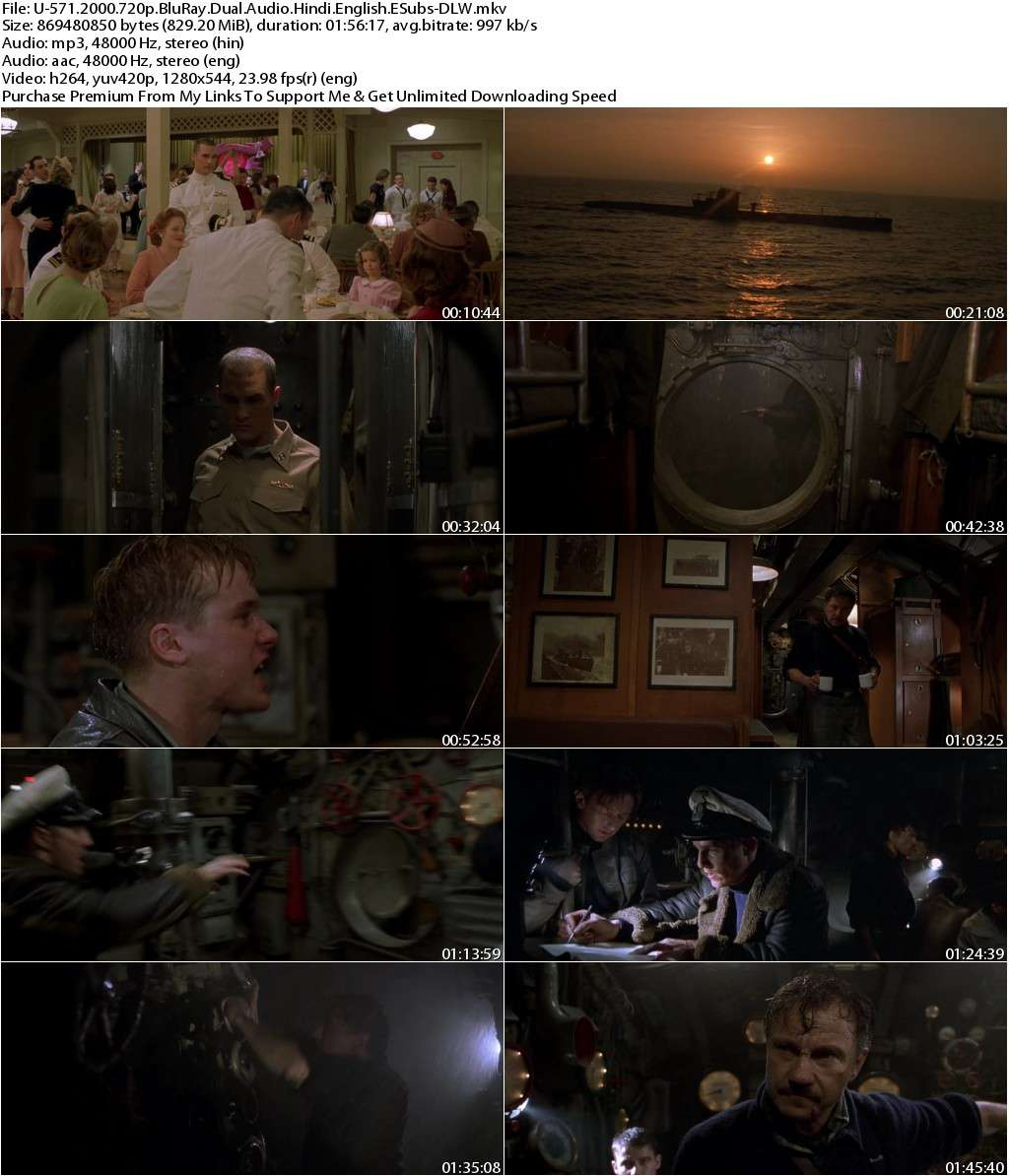 U-571 (2000) 720p BluRay Dual Audio [Hindi+English] ESubs-DLW