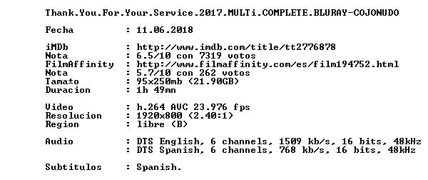 Thank You For Your Service 2017 MULTi COMPLETE BLURAY-COJONUDO