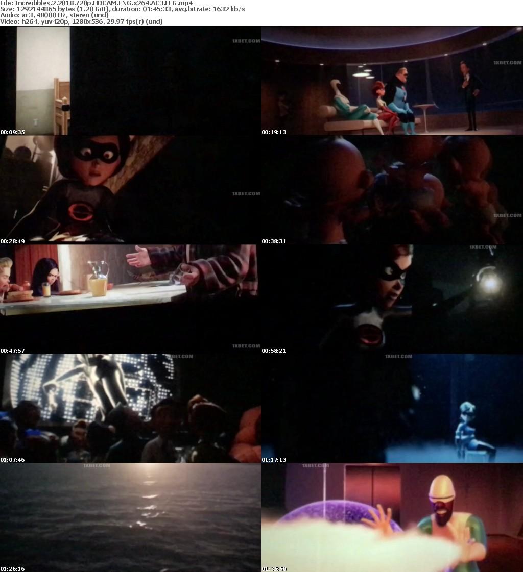 Incredibles 2 (2018) 720p HDCAM ENG x264 AC3 LLG