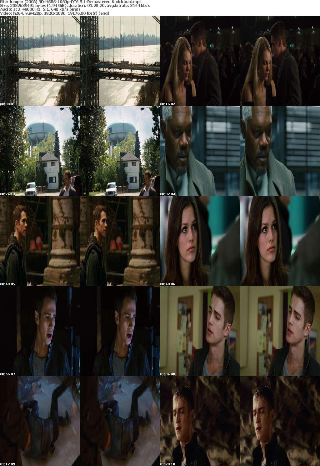 Jumper (2008) 3D HSBS 1080p BluRay AC3 (DTS 5.1) Remastered-nickarad