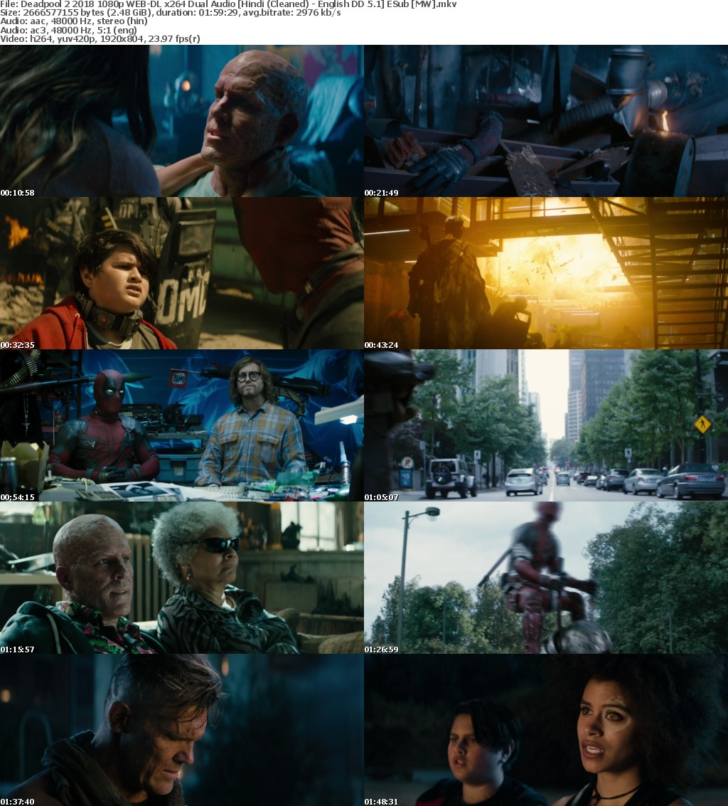 Deadpool 2 (2018) 1080p WEB-DL x264 Dual Audio Hindi (Cleaned) - English DD 5.1 ESub MW