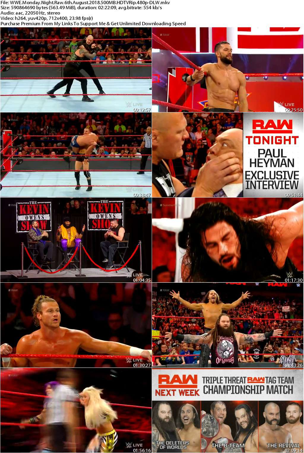 WWE Monday Night Raw 6th August 2018 500MB HDTVRip 480pDLW