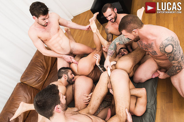 Rocco Steele's Breeding Party Grows To A Nine-Man Orgy (Lucas Ent.)