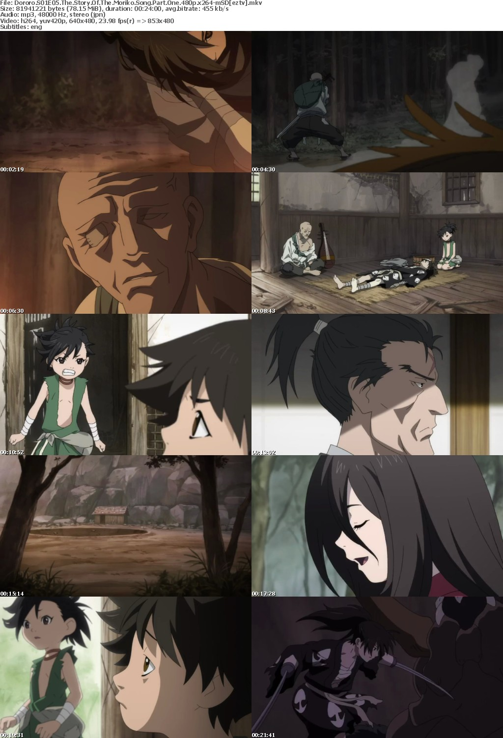 Dororo S01E05 The Story Of The Moriko Song Part One 480p x264-mSD