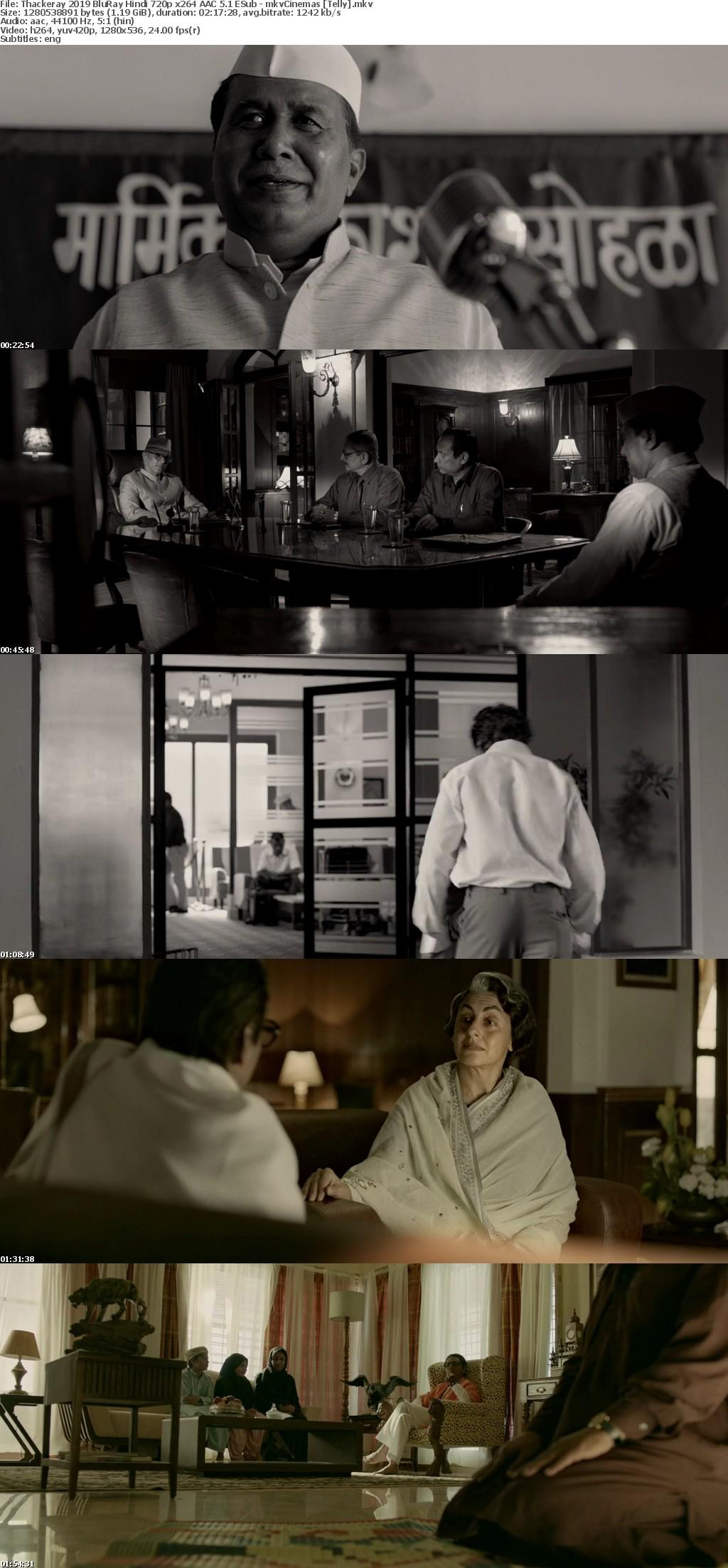 Thackeray 2019 BluRay Hindi 720p x264 AAC 5 1 ESub - mkvCinemas [Telly]