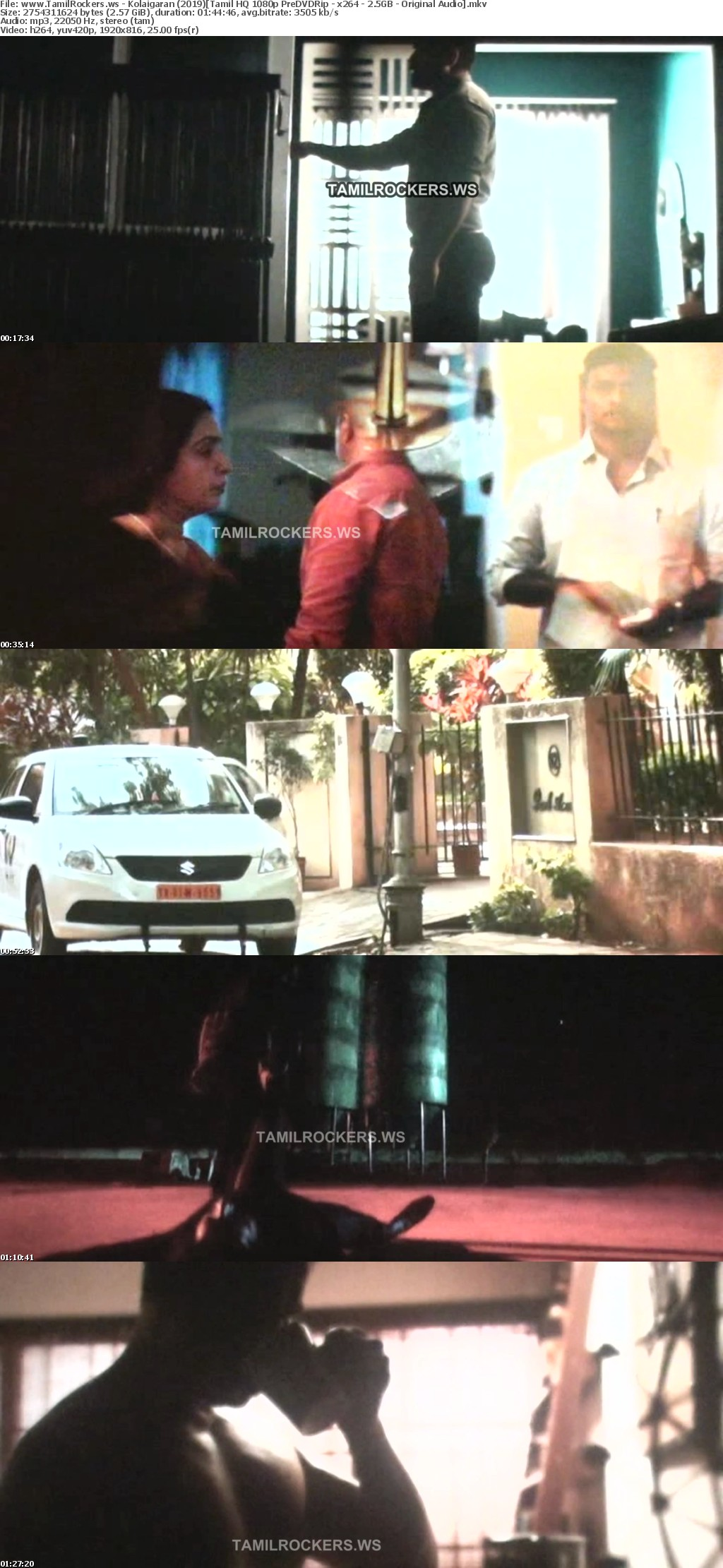 Kolaigaran 2019 Tamil HQ 1080p PreDVDRip - x264 - 2 5GB - Original Audio
