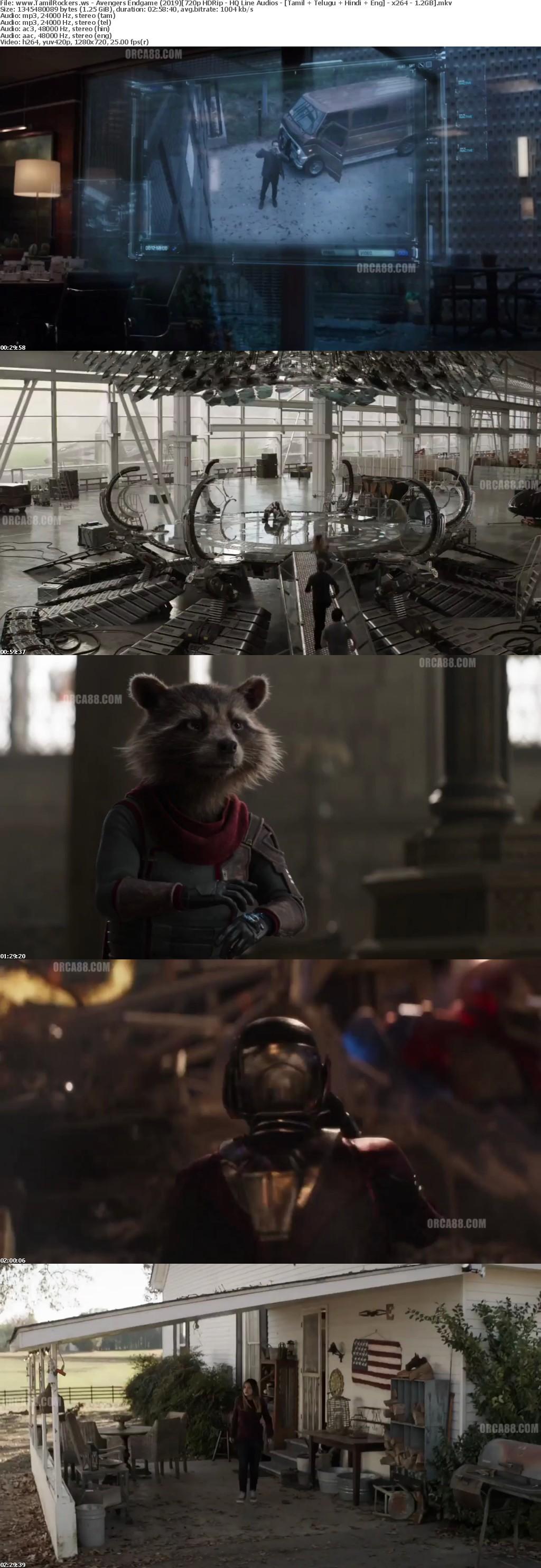 Avengers Endgame (2019) 720p HDRip - HQ Line Audios - Tamil + Telugu