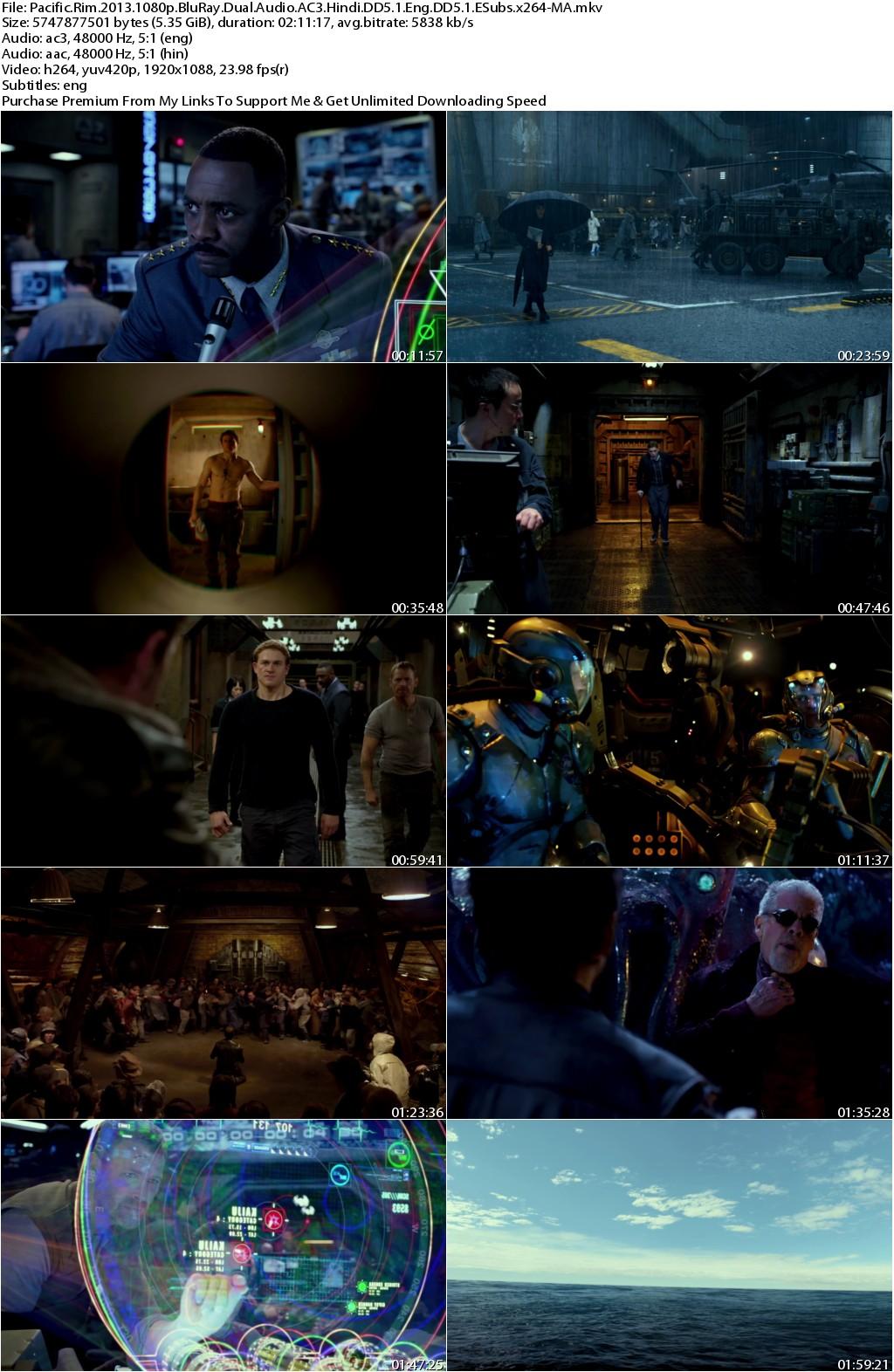 Pacific Rim (2013) 1080p BluRay Dual Audio AC3 Hindi DD5.1 Eng DD5.1 ESubs x264-MA