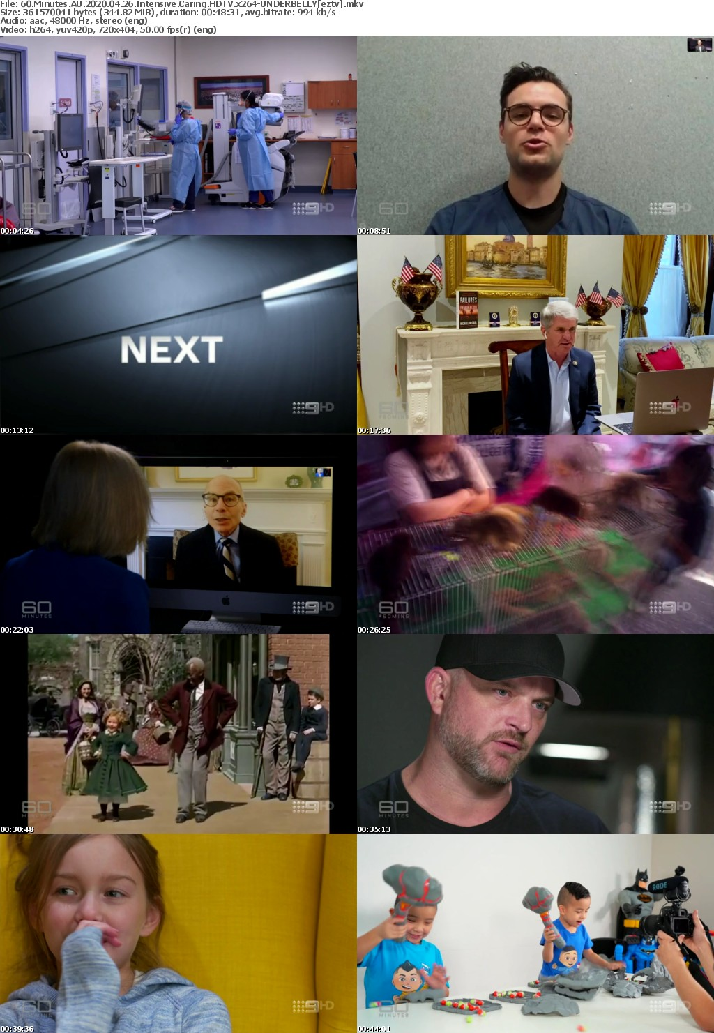 60 Minutes AU 2020 04 26 Intensive Caring HDTV x264-UNDERBELLY