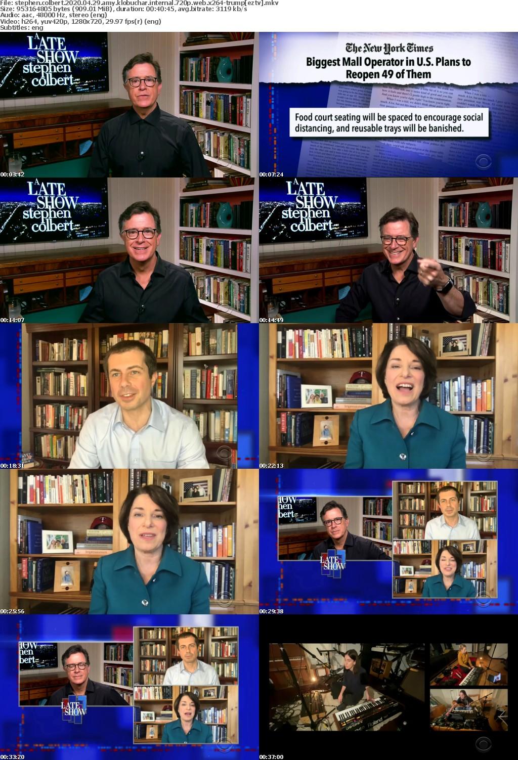 Stephen Colbert 2020 04 29 Amy Klobuchar iNTERNAL 720p WEB x264-TRUMP