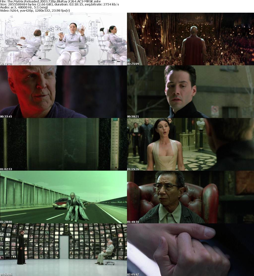 The Matrix Reloaded 2003 720p BluRay X264 AC3-MRSK