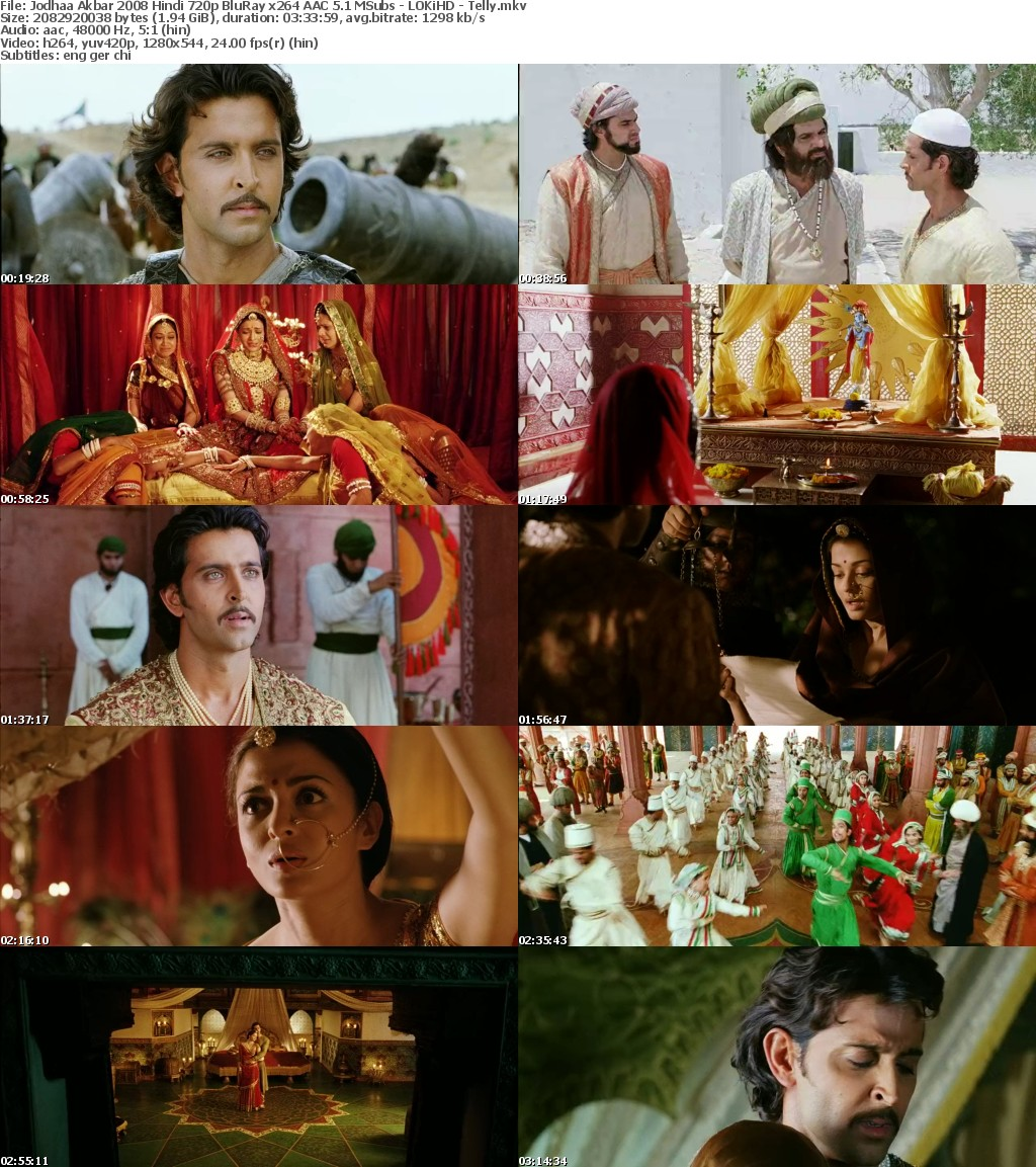 Jodhaa Akbar 2008 Hindi 720p BluRay x264 AAC 5 1 MSubs - LOKiHD - Telly